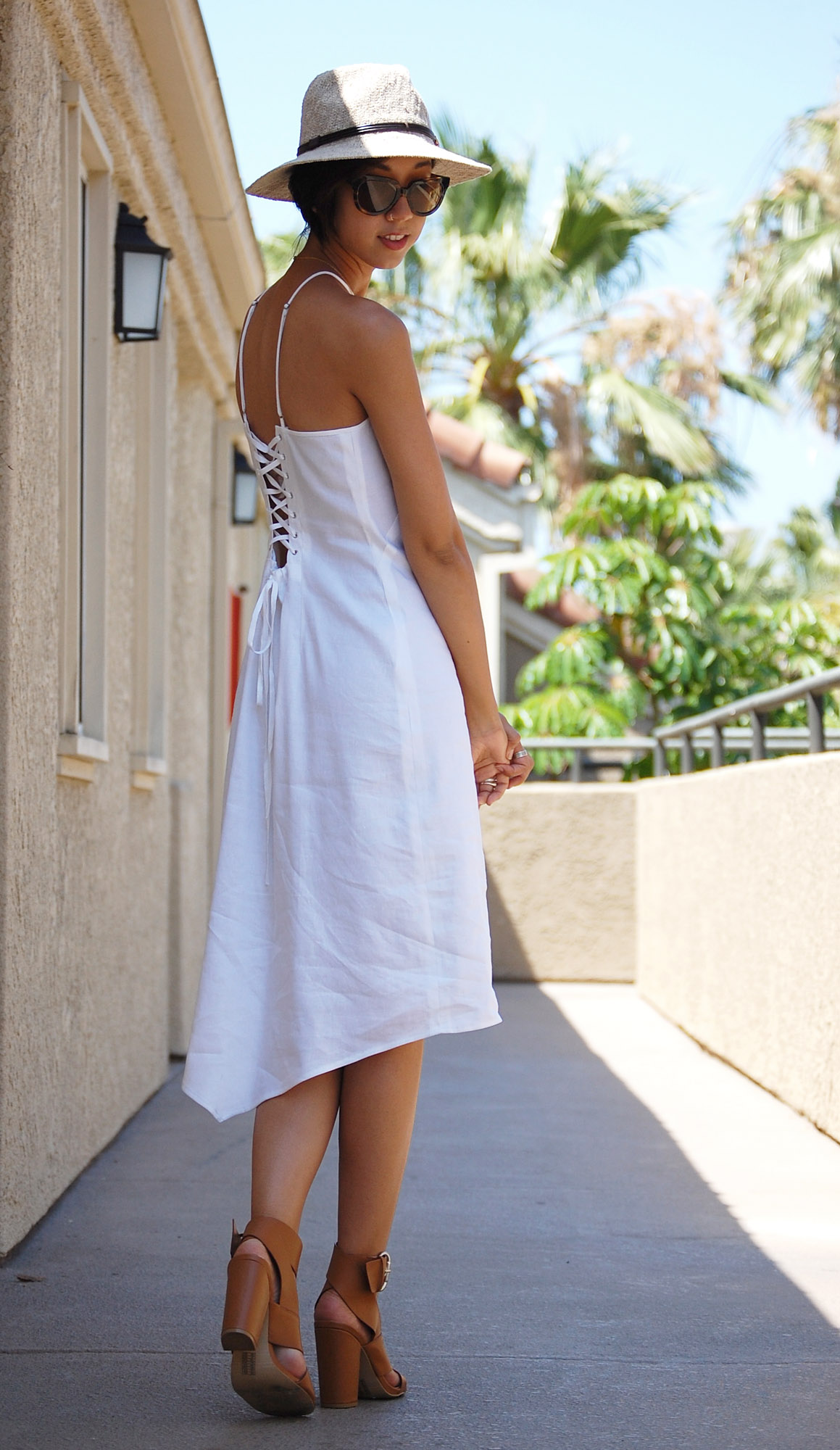 White High Collar Lace Back Dress3