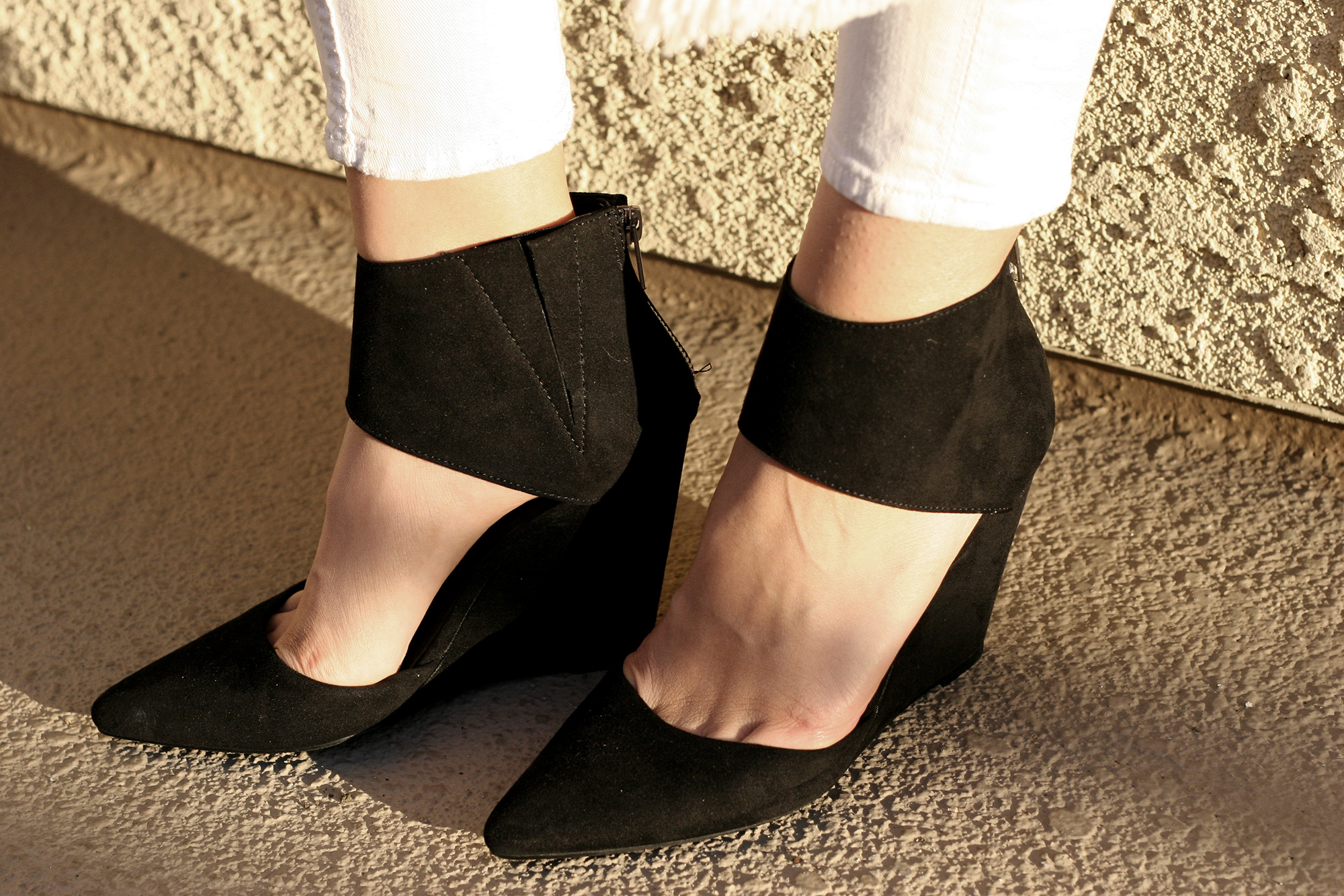 Forever21 Zippered Faux Suede Black Wedge