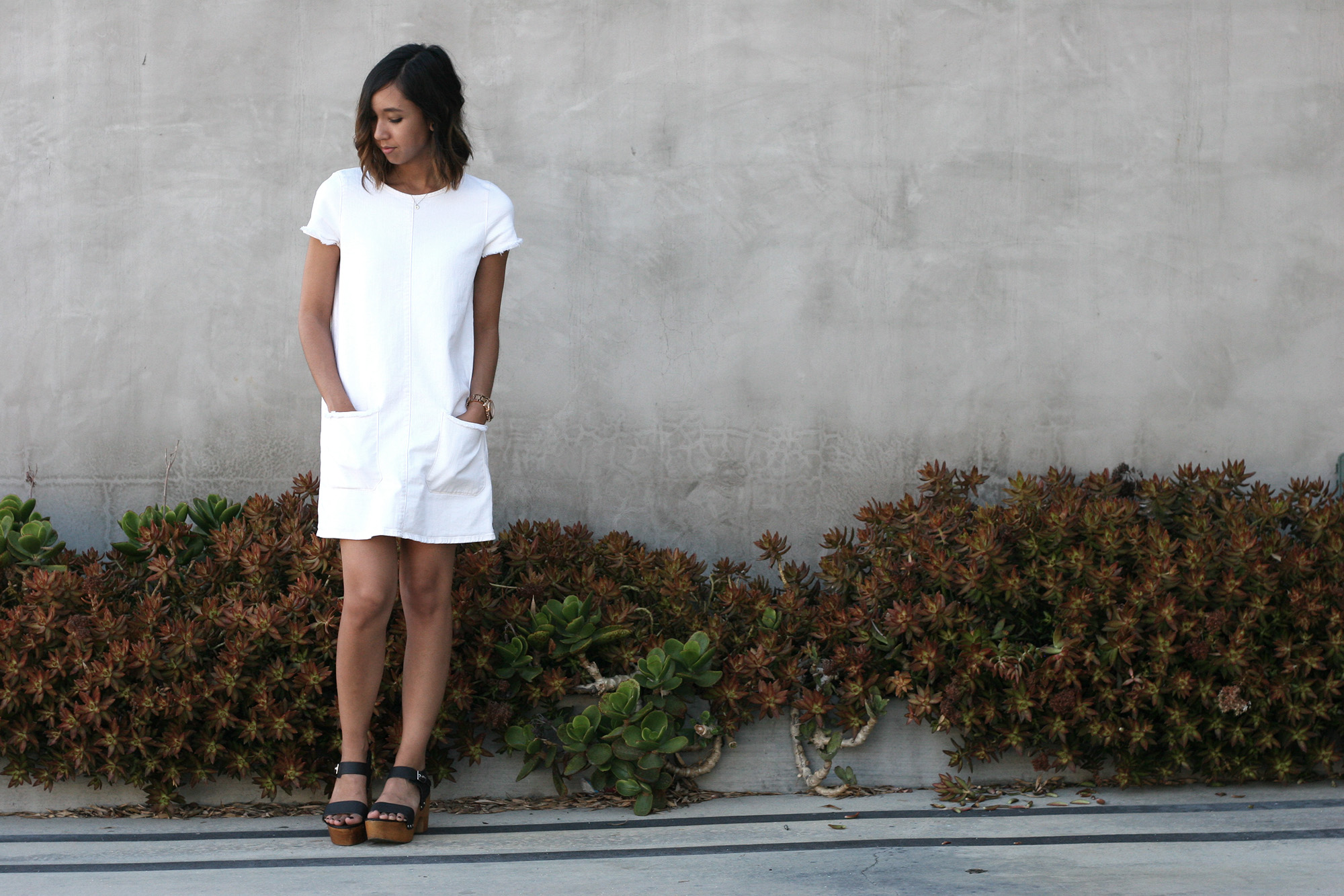 White dress at zara - White Raw Hem Denim Dress