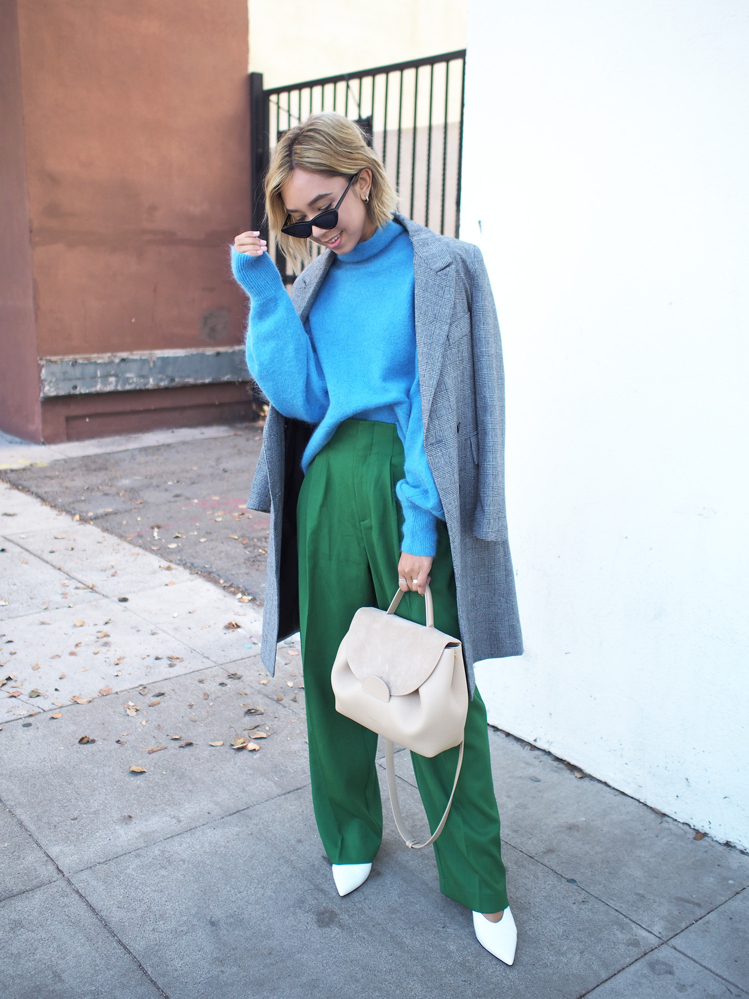 Blue Oversized Sweater & Green Trousers