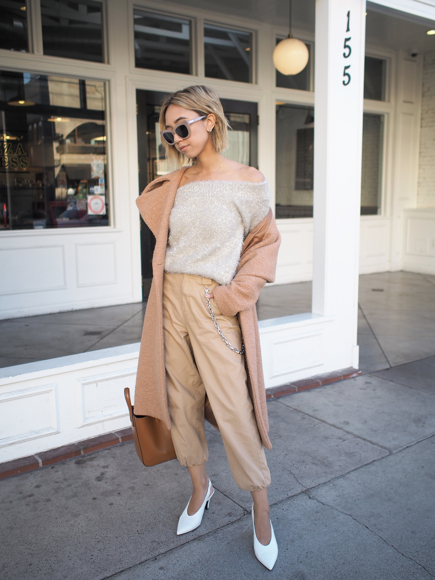 Shimmer Off Shoulder Sweater