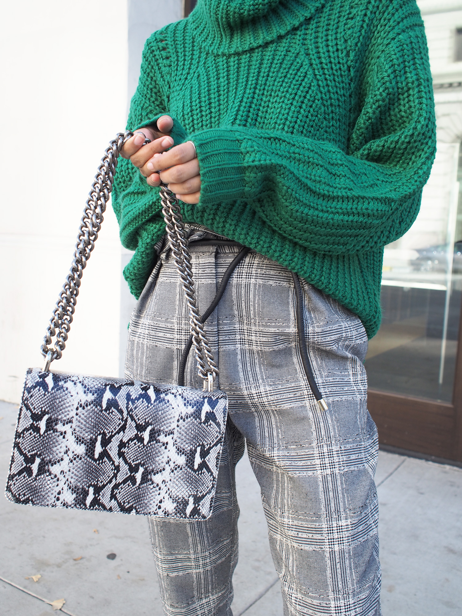 Green Chunky Knit & Plaid Trousers
