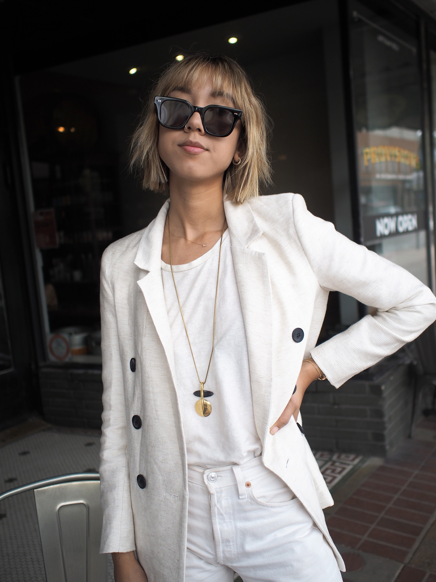 White Double Breasted Blazer Outfit